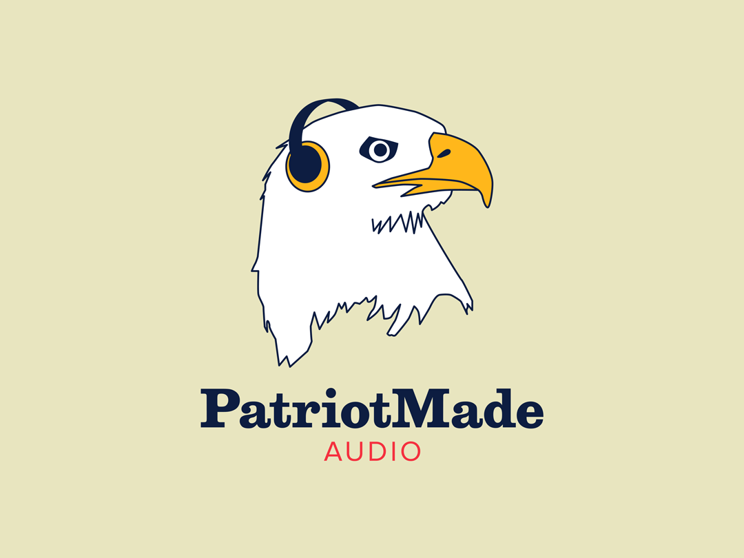 Patriot Made Audio logo (eagle with headphones)