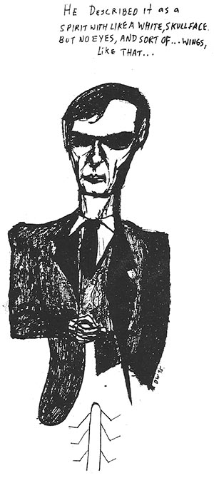 drawing of William S. Burroughs by David West
