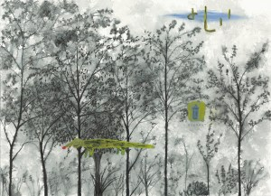 Honk Nosed Lizard and Hydrant, a painting by John Lurie