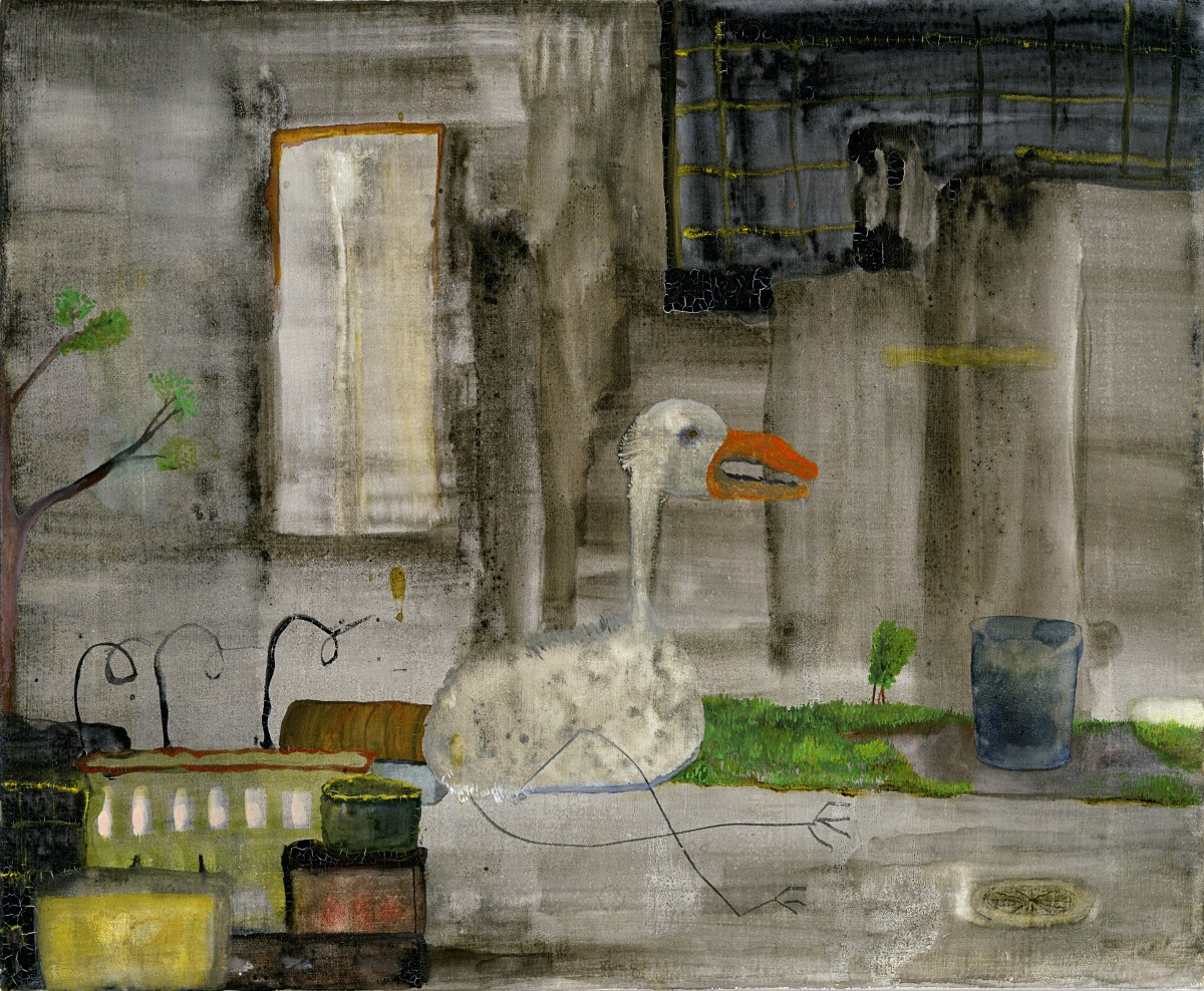Bird Falls Near Chinese Garbage, a painting by John Lurie
