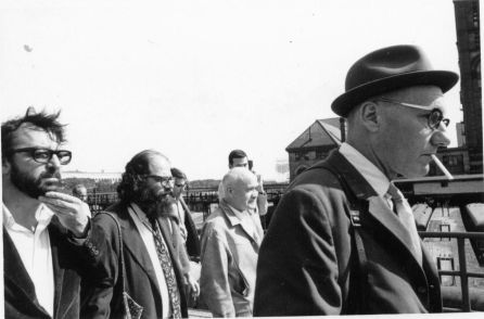 Terry Southern with William S. Burroughs, Allen Ginsberg and Jean Genet at the 1968 Democratic Convention in Chicago