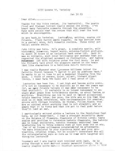 Timothy Leary Letter Allen Ginsberg Berkeley 1969