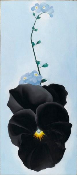 Georgia O'Keeffe black pansy forget me nots