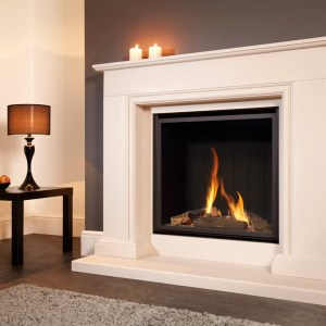 Flavel Sophia Gas Fireplace Suite Limestone Fireplace