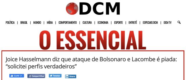 Diário do Centro do Mundo defende Joice Hasselmann