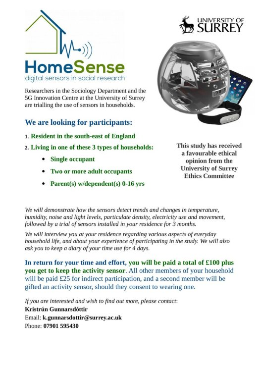 The flyer for the HomeSense field trial