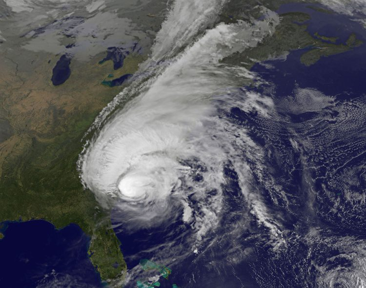 This visible image of Hurricane Matthew along the southeastern U.S. coast was taken by NOAA's GOES-East satellite on Oct. 8, 2016. (Credit: NASA/NOAA GOES Project)