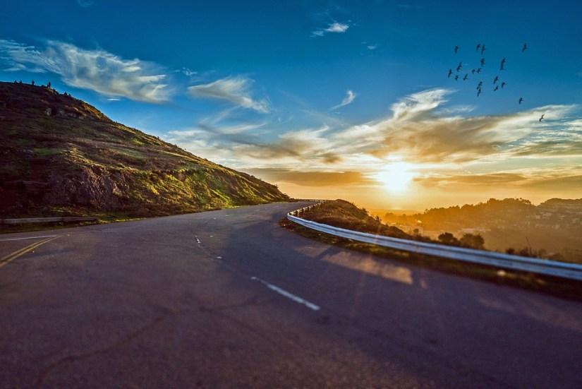 mountain road at sunrise