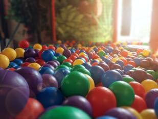 Sensory play in ball pit