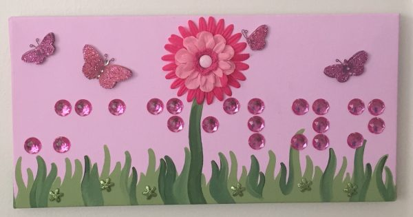 name plaque with flowers and butterflies