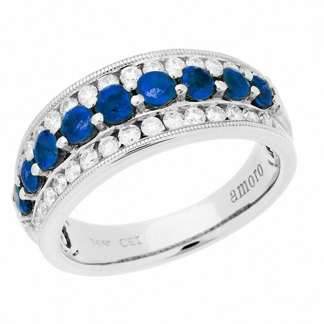 Amoro Sapphire and Diamond Ring in 14kt White Gold