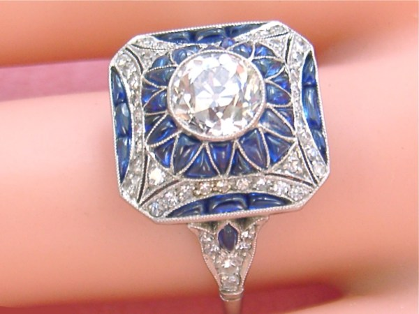 ESTATE ART DECO 1.35ctw EURO DIAMOND SAPPHIRE PLATINUM ENGAGEMENT RING