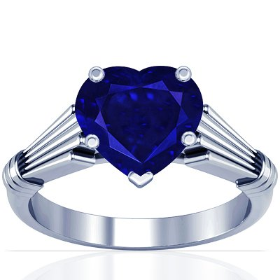 Platinum Heart Cut Blue Sapphire Solitaire Ring (GIA Certificate)