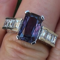 A Stunning Color Change Sapphire Diamond Platinum Ring