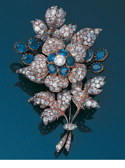 A late 19th century sapphire and diamond floral spray brooch