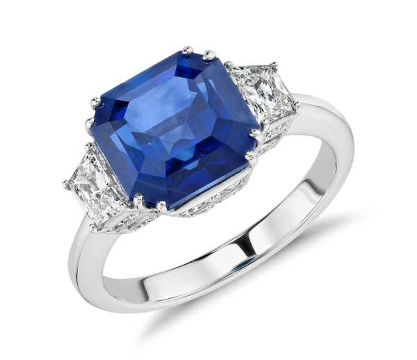 Sapphire and Diamond Three-Stone Ring in 18k White Gold (5.52 ct.) (9x7mm)