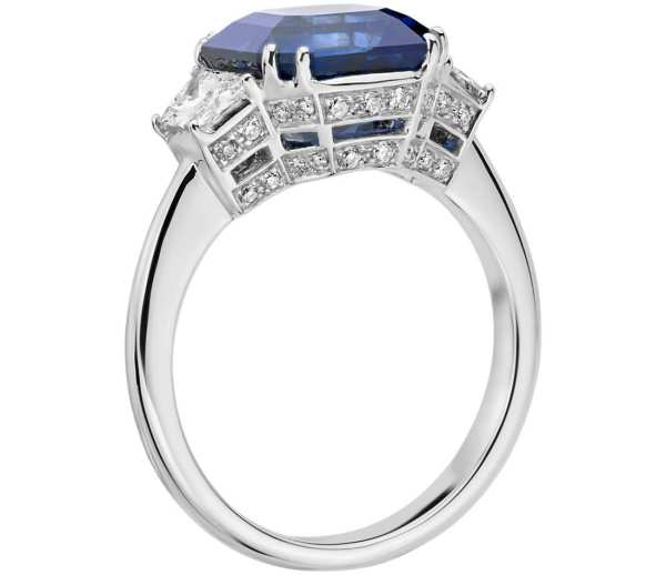 Sapphire and Diamond Three-Stone Ring