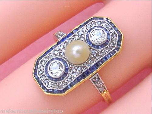 ANTIQUE ART DECO .53ct DIAMOND SAPPHIRE PEARL RING 1930