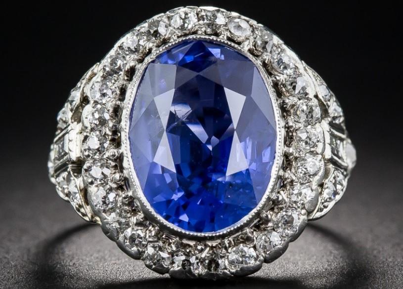 6.63 Carat. No Heat Sapphire and Diamond Art Deco Ring