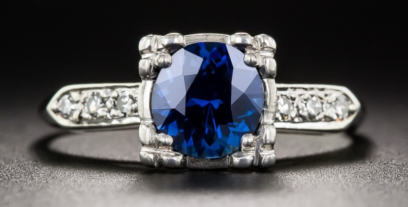 Gorgeous .95 Carat Sapphire and Diamond Vintage Engagement Ring.
