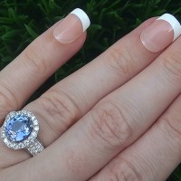A Gorgeous GIA 4.14 Ct Unheated VVS Violet Blue Sapphire Diamond 14k White Gold Estate Ring