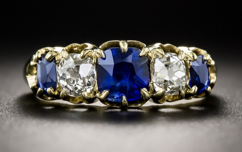 Vintage Sapphire and Diamond Five-Stone Ring