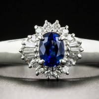 A Gorgeous Petite Platinum Sapphire and Diamond Estate Ring
