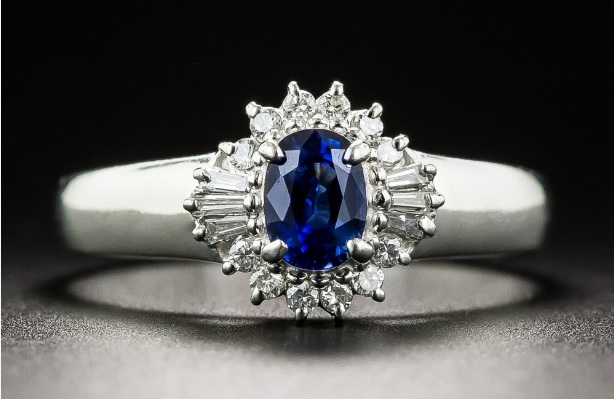 Petite Platinum Sapphire and Diamond Estate Ring