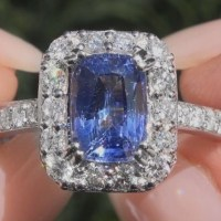A Beautiful GIA 2.74 Carat Unheated Natural VVS Blue Sapphire Diamond 18k White Gold Ring