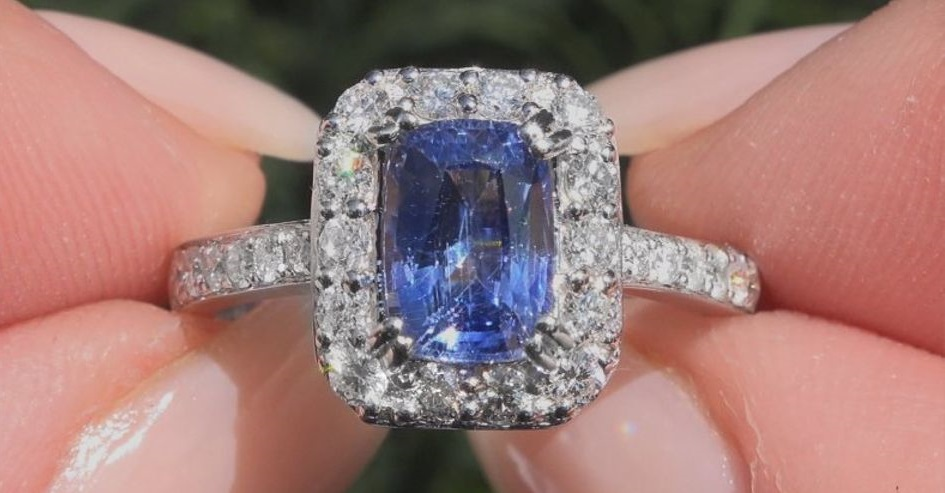 GIA 2.74 ct UNHEATED Natural VVS Blue Sapphire Diamond 18k White Gold Ring