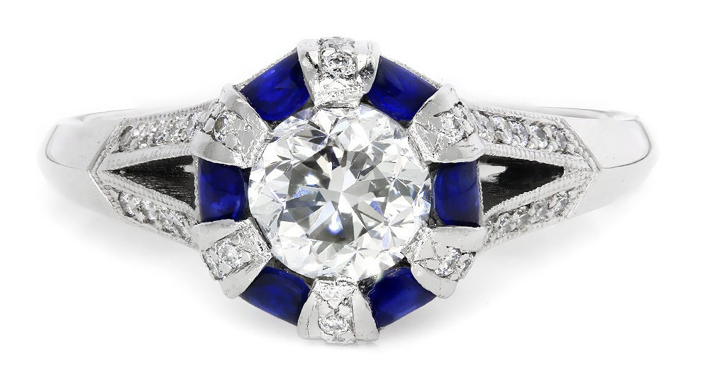 Simply Tacori Certified Round Diamond Engagement Ring with Sapphires 18K 1.69ctw