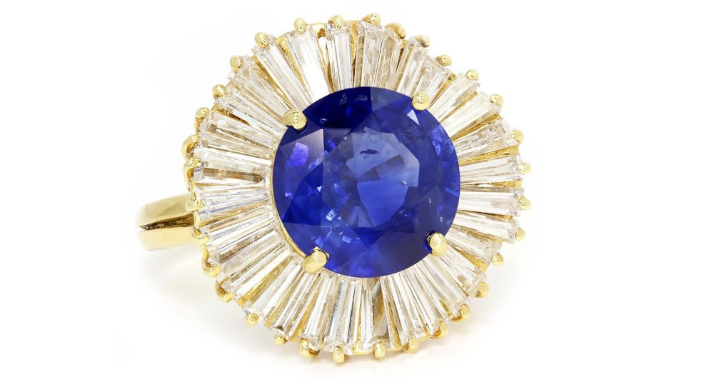 Vintage Sapphire Ballerina Ring with Diamonds 18K Yellow Gold 5.22ctw Certified