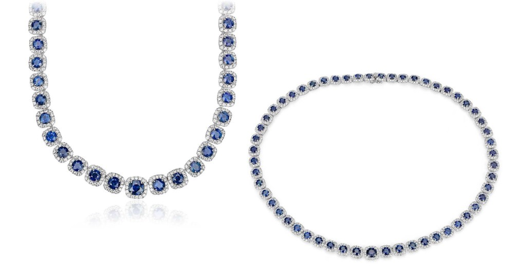 Sapphire and Diamond Halo Statement Necklace in 18k White Gold (21.72 ct. tw.)