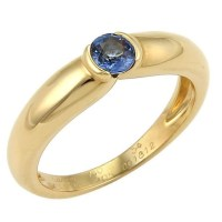 A Beautiful Cartier Semi Bezel Set Sapphire 18k Yellow Gold Band Ring