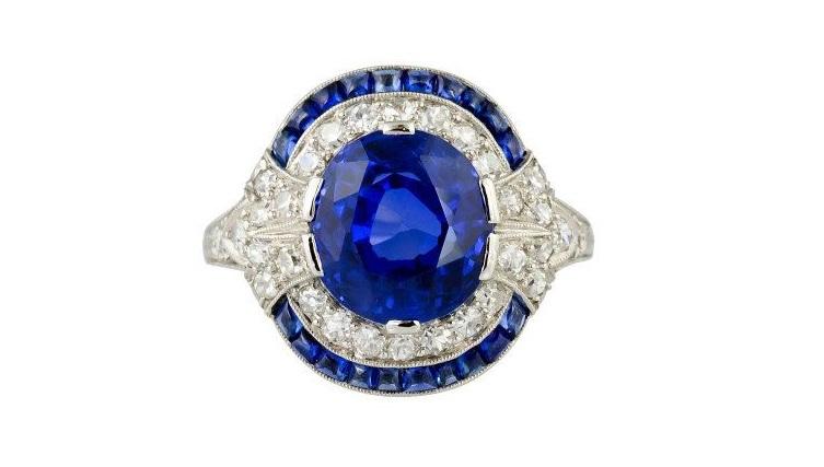 Natural Burma Sapphire And Diamond Art Deco Platinum Ring