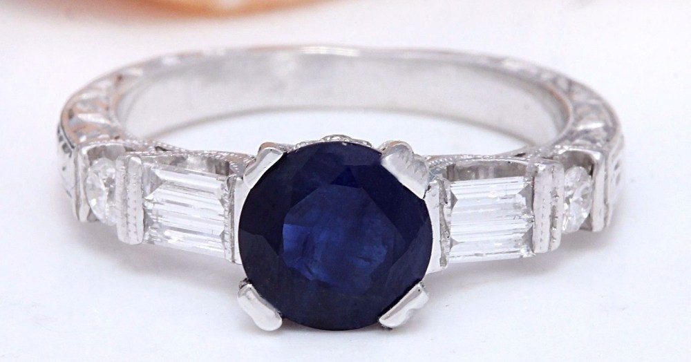1.60 Cwt Natural Sapphire and Diamond Ring in 14K Solid White Gold