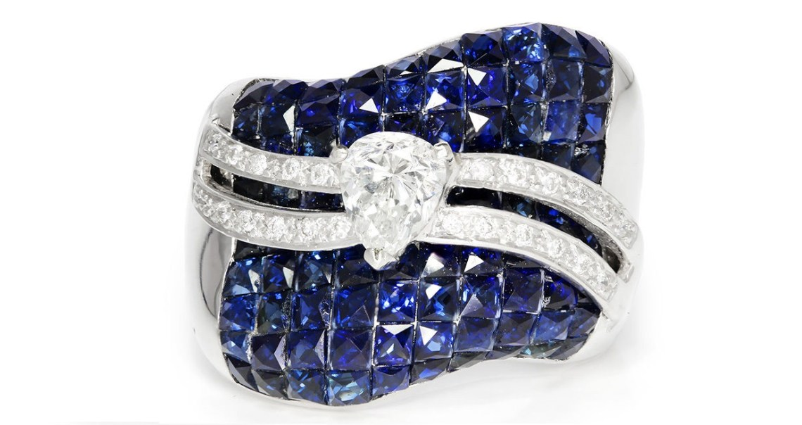 Pear Diamond Wavy Cocktail Ring with Ocean of Sapphires 14K White Gold 5.06ctw
