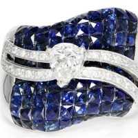 A Spectacular Pear Diamond Wavy Cocktail Ring with Ocean of Sapphires 14K White Gold 5.06ctw