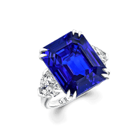 16.57 Ct Sri Lankan Emerald Cut Sapphire and Diamond Ring Exquisitely Set