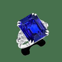 16.57 Ct Sri Lankan Emerald Cut Sapphire and Diamond Ring Exquisitely Set
