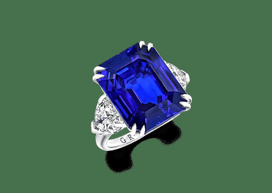 Emerald Cut Sapphire and Diamond Ring 16.57 CT SRI LANKAN SAPPHIRE