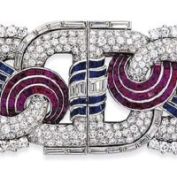 Art Deco Ruby, Sapphire, and Diamond Double Clip Brooch circa 1935