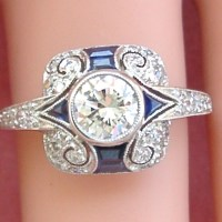 Art Deco Style 0.63 Ct Diamond Sapphire Platinum Engagement Ring