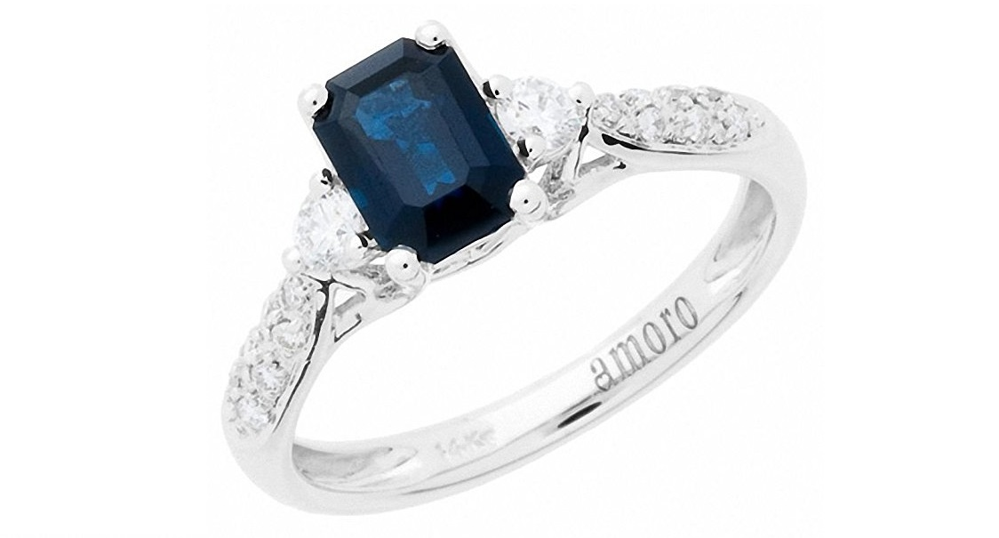 Sapphire and Diamond Ring (0.21 cttw, H Color, SI2 Clarity) 14K White Gold Ring Price: $947.50