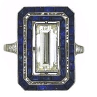Art Deco Baguette Diamond and Sapphire Ring