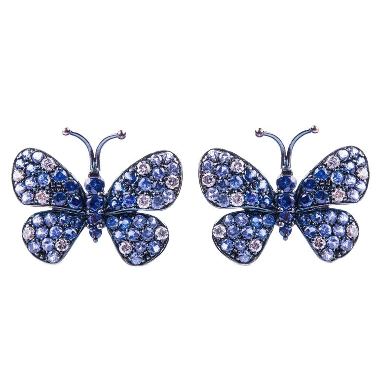Diamond and Sapphire Butterfly Earrings $5,748.40