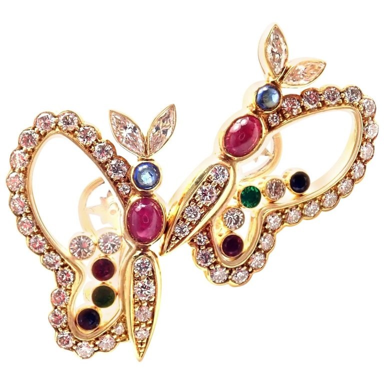 Chopard Diamond Ruby Sapphire Happy Butterfly Yellow Gold Earrings $10,500