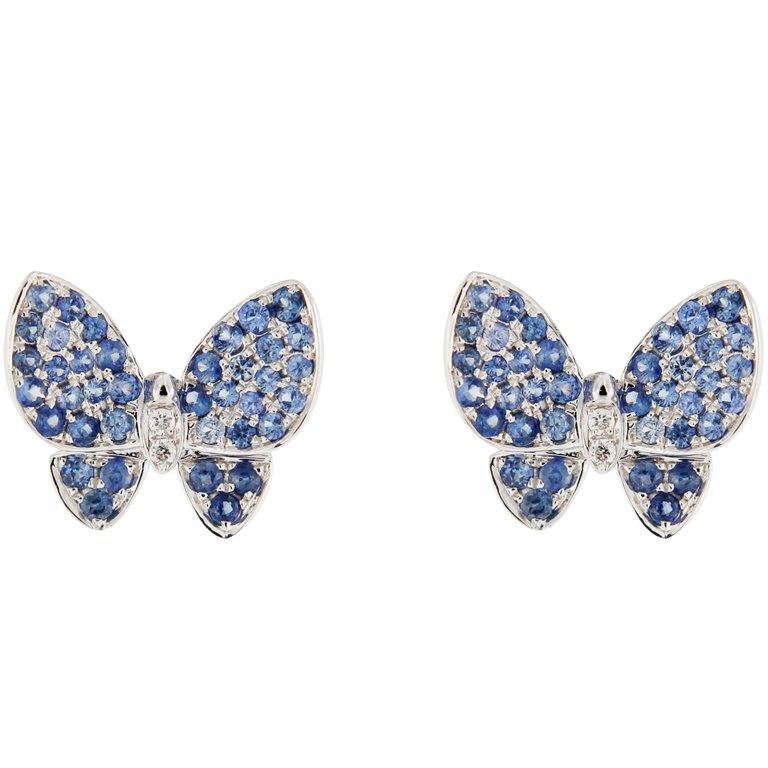 Jona Blue Sapphire White Diamond 18K White Gold Butterfly Stud Earrings $1,347.28