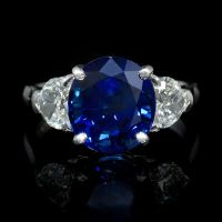 Gorgeous Diamond and Blue Sapphire Platinum Ring