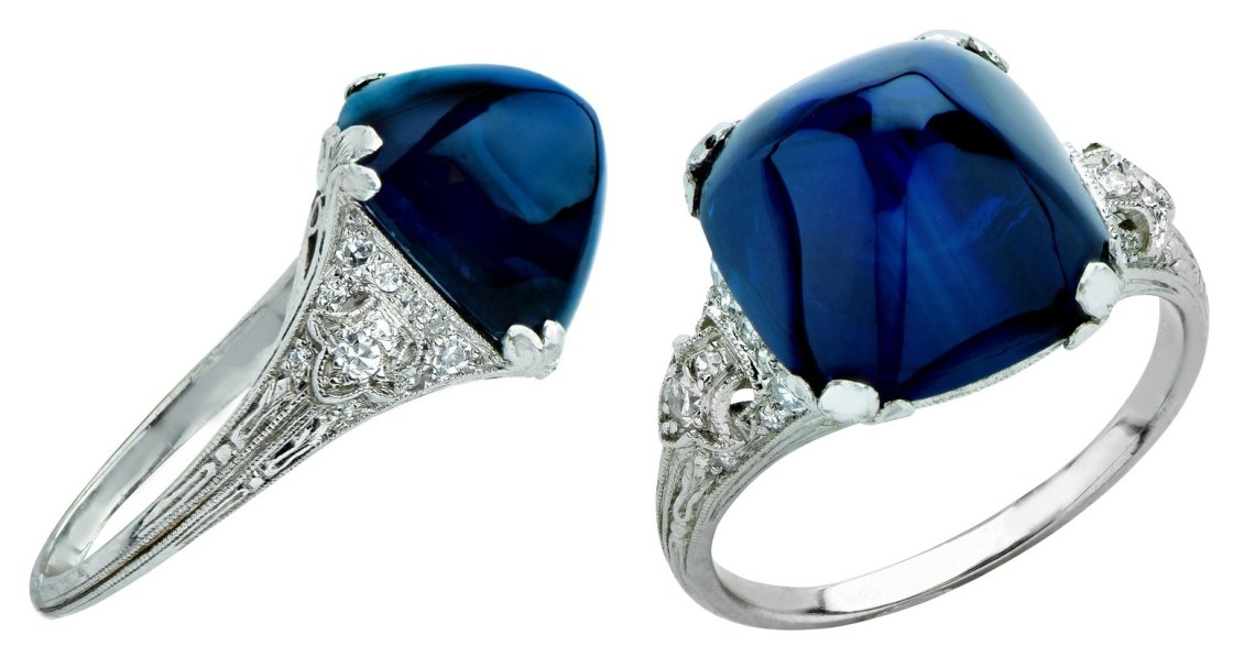 Art Deco 11.92 Carat Sugarloaf Sapphire and Diamond Ring $37,600